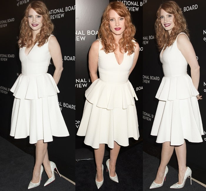 Jessica Chastain's sexy legs in a white peplum dress