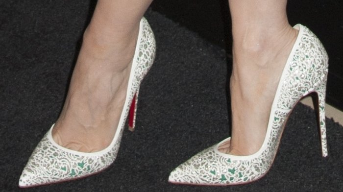 Jessica Chastain's sexy feet in white Christian Louboutin Strass pumps