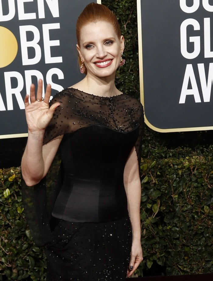 Jessica Chastain could not stop smiling at the 2019 Golden Globe Awards