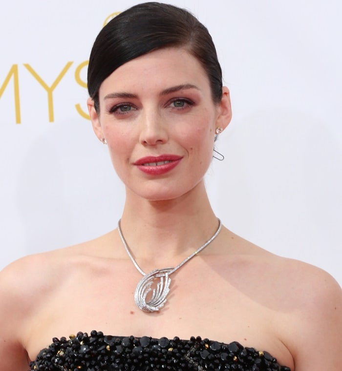 Jessica Pare at the 2014 Emmy Awards at the Nokia Theatre in Los Angeles on August 25, 2014