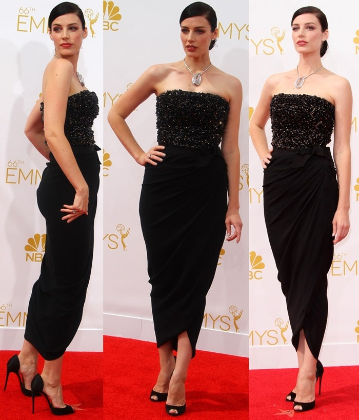 Jessica Pare's strapless dress featuring a draped tulip skirt and a beaded strapless bodice