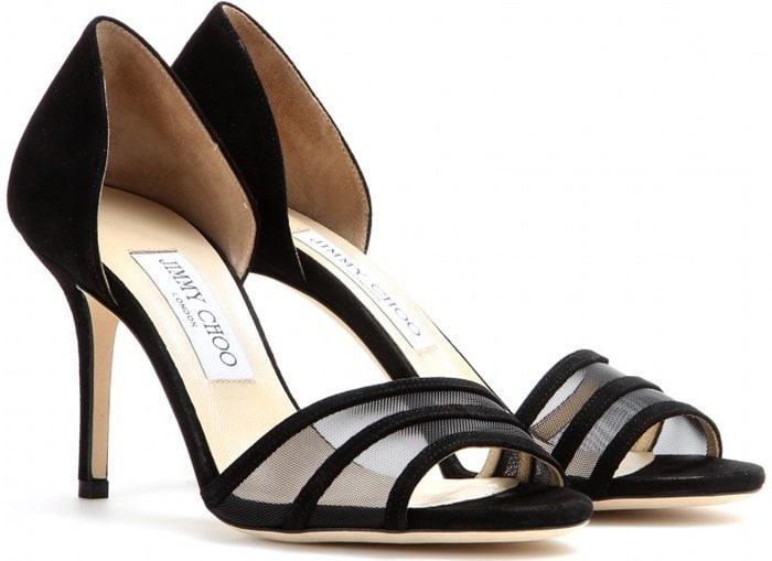 Jimmy Choo Black Vexil Suede Sandals