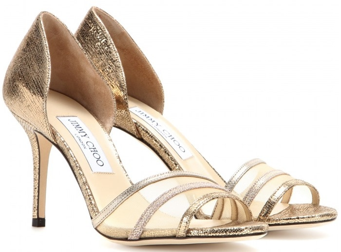 Jimmy Choo Gold Vexil Leather Sandals