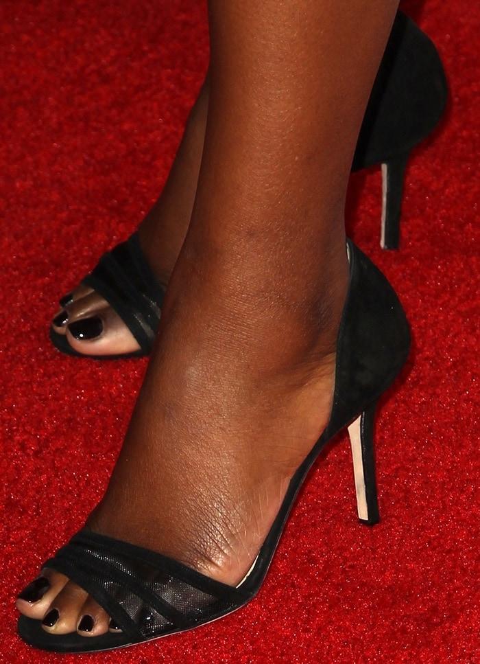 Octavia Spencer's nude feet in Jimmy Choo Vexil sandals