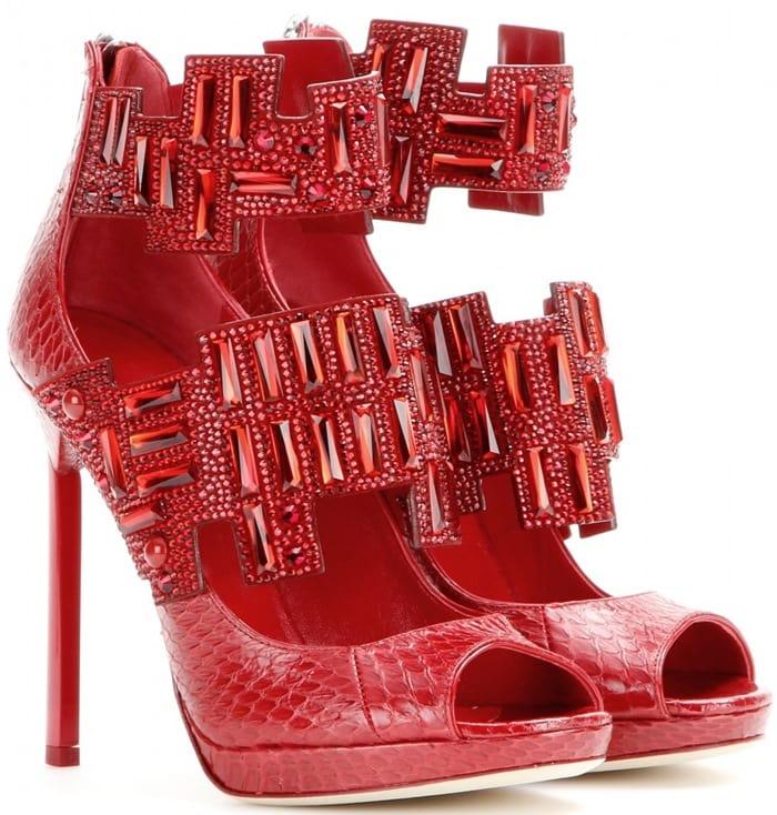 Jimmy Choo Jing Embellished Snakeskin Sandals