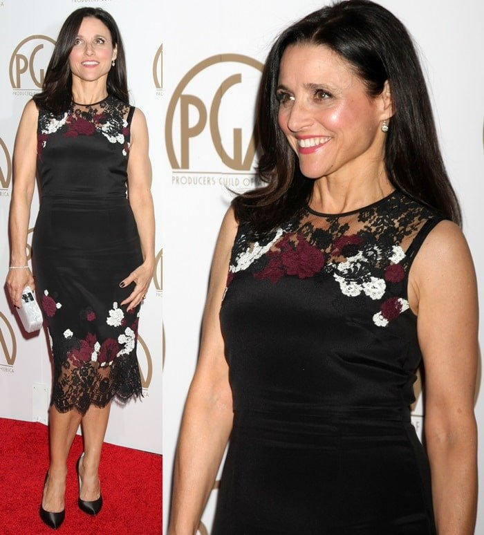 Julia Louis-Dreyfus flaunted her legs in a floral embroidered dress