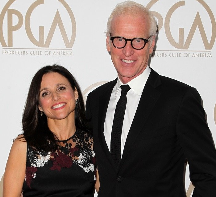 Brad Hall and Julia Louis-Dreyfus at the 2015 Producers Guild Of America Awards held at the Hyatt Regency Century Plaza in Los Angeles on January 24, 2015