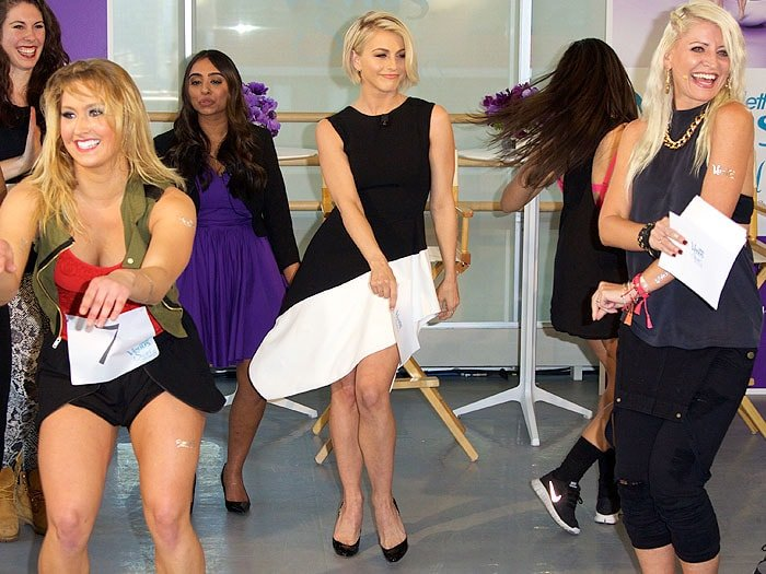 "Julianne Hough dancing with the contestants of the ""Swirl"" Dance Off"