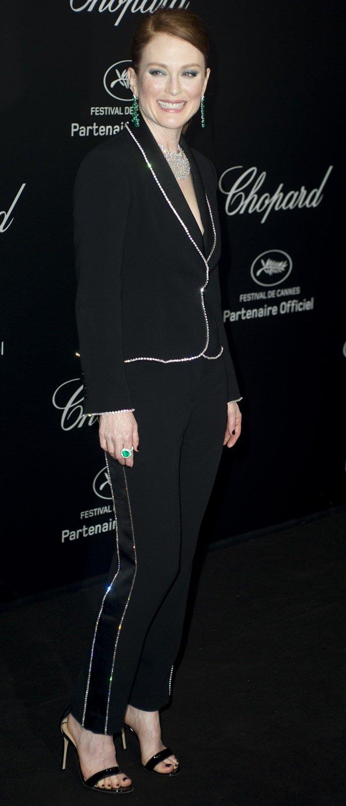 Julianne Moore wears a Sonia Rykiel suitat the Chopard Secret Night party