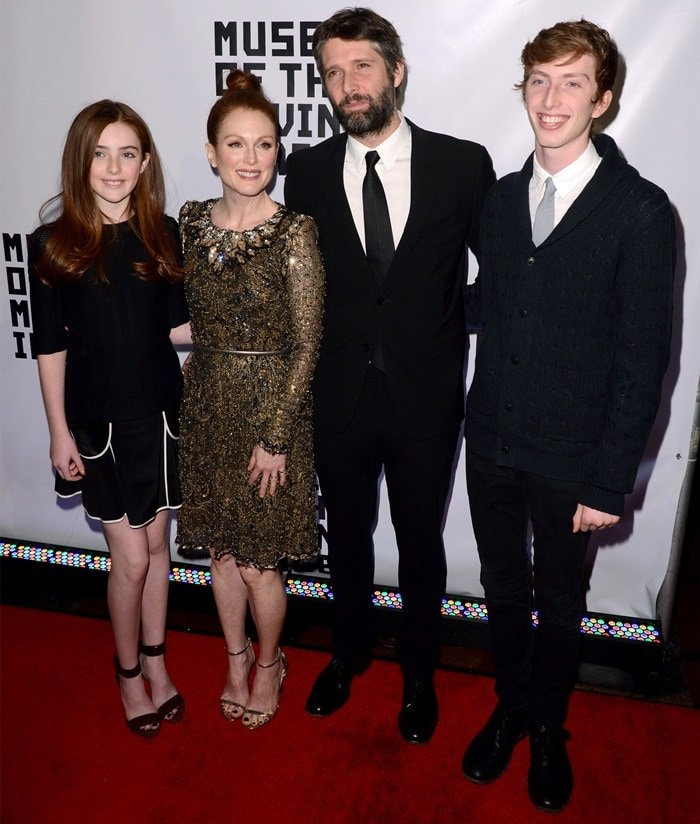 Liv Freundlich, Julianne Moore, Bart Freundlich, and Caleb Freundlich at the Museum of The Moving Image event held at 583 Park Avenue in New York City on January 21, 2015
