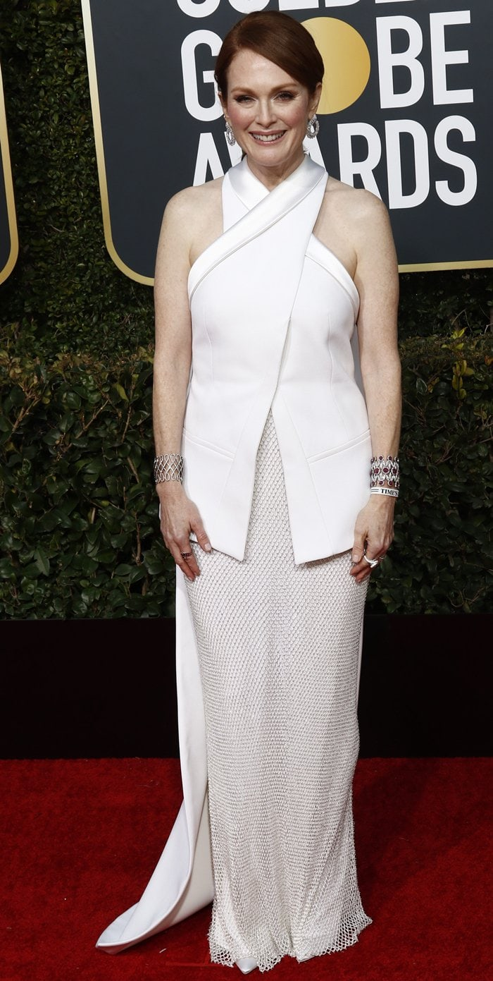 Julianne Moore was one of the presenters at the 2019 Golden Globe Awards at the Beverly Hilton Hotel in Beverly Hills, California, on January 6, 2019
