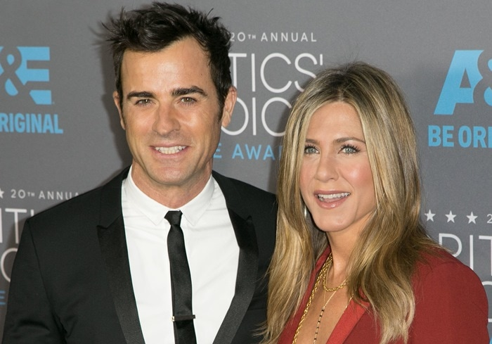 Jennifer Aniston and her fiance Justin Theroux at the 2015 Critics' Choice Movie Awards held at the Hollywood Palladium in Los Angeles on January 15, 2015