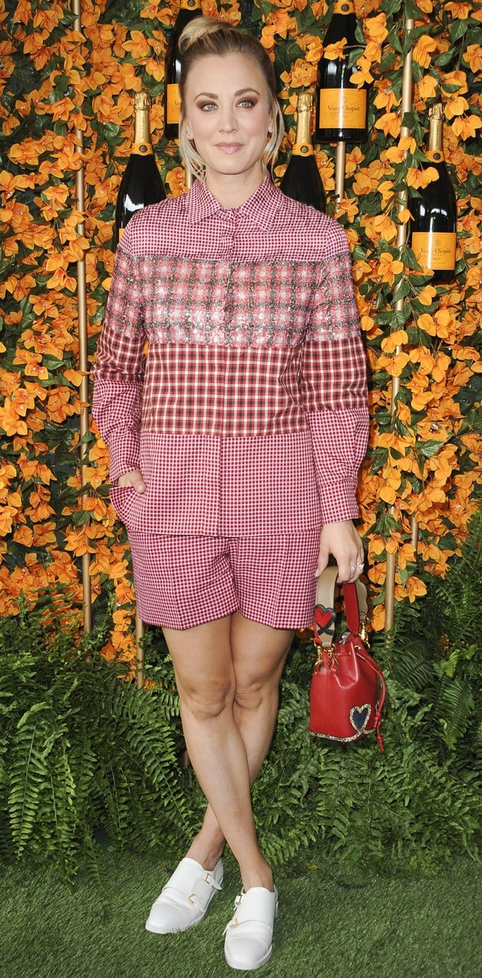 Kaley Cuoco flaunts her sexy legs at the 2018 Veuve Clicquot Polo Classic at Will Rogers State Historic Park in the Pacific Palisades, California, on October 6, 2018