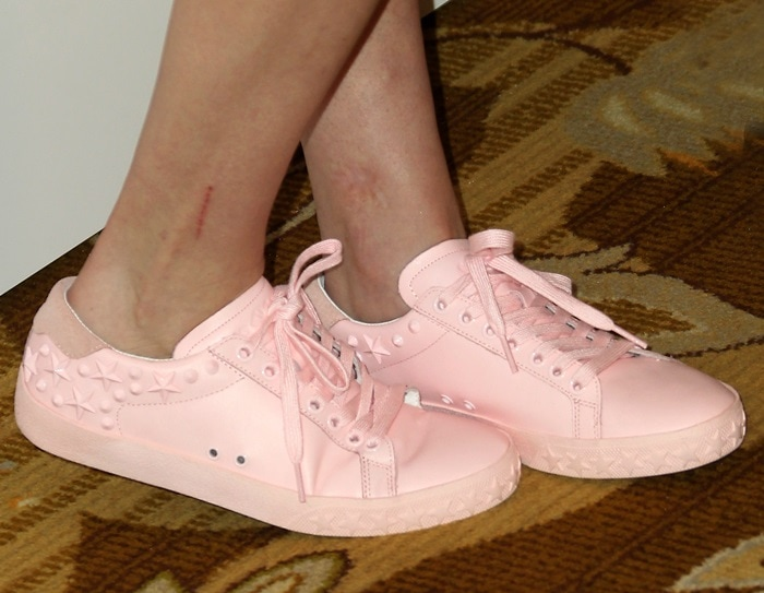 Kaley Cuoco's pink sneakers from Ash