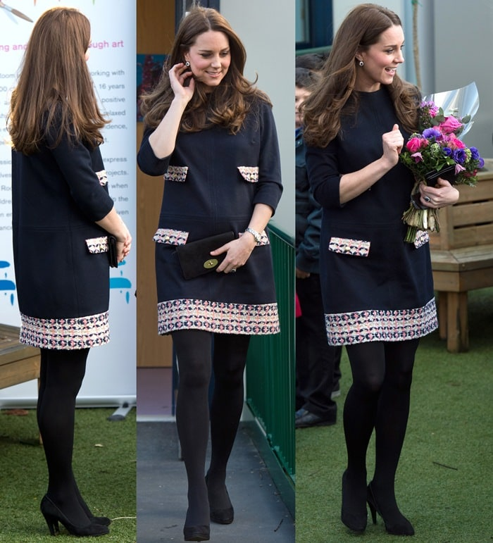 Catherine, Duchess of Cambridge completed the look with her favorite Episode Angel pumps