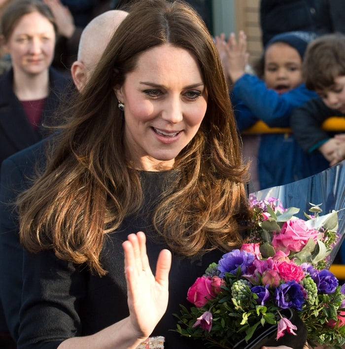Catherine, Duchess of Cambridge (aka Kate Middleton) at the Barlby Primary School in London on January 15, 2015