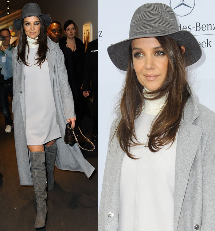 Katie Holmes' smoky eye makeup and softly blown-out hair complemented her chic outfit