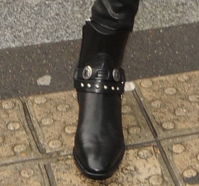 Kendall Jenner's Western-inspired biker boots by Saint Laurent