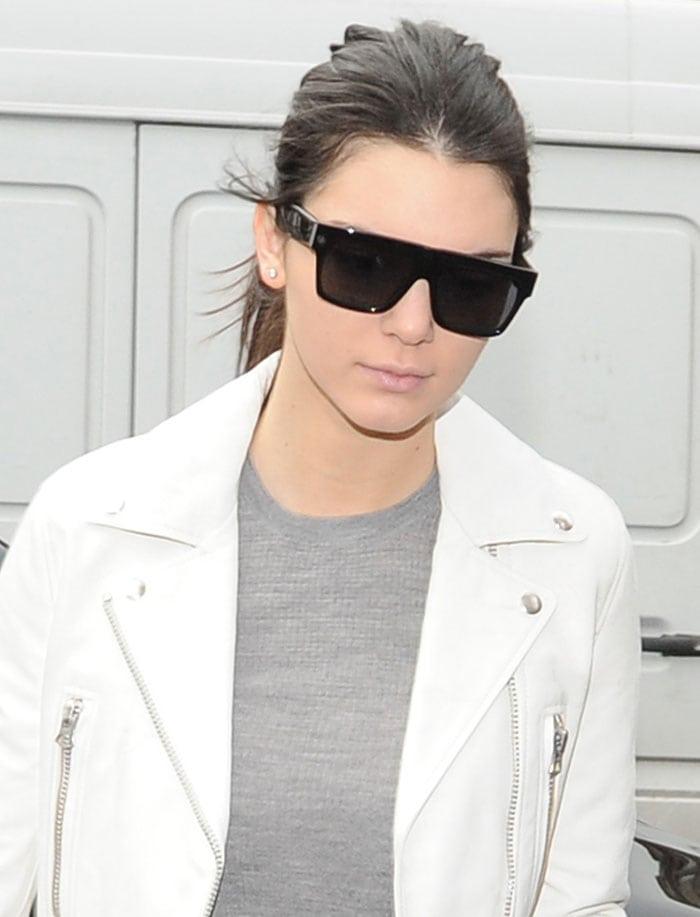 Kendall Jenner's white Acne biker jacket