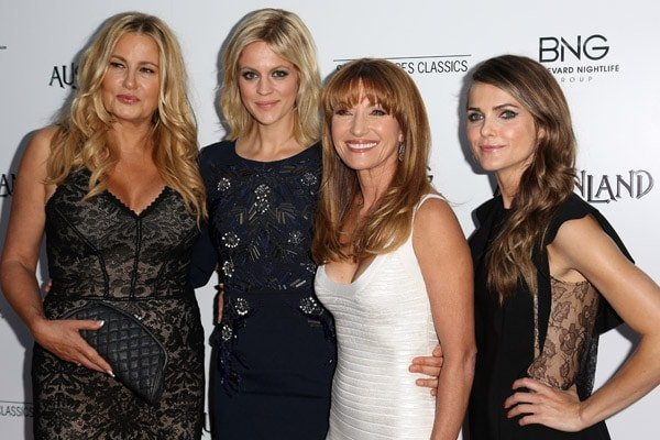 Keri Russell working the red carpet with her Austenland co-stars Jennifer Coolidge, Georgia King, and Jane Seymour