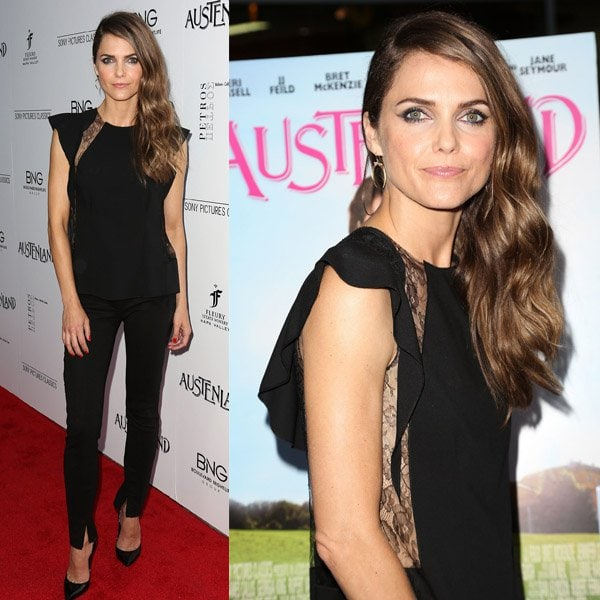 Keri Russell wearing a lace and silk top by Nina Ricci