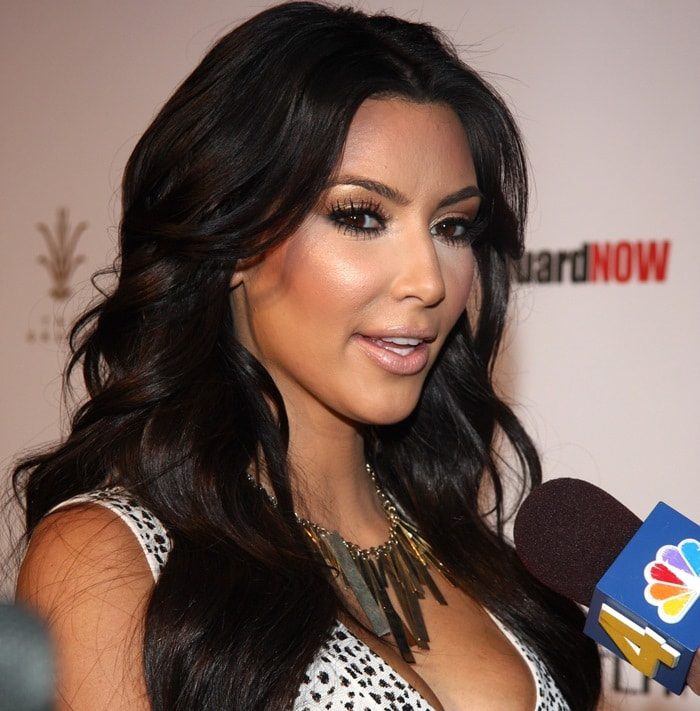 Kim Kardashian hosting the Bravada international launch party at The Whisper Restaurant and Lounge at The Grove in Los Angeles on April 7, 2010