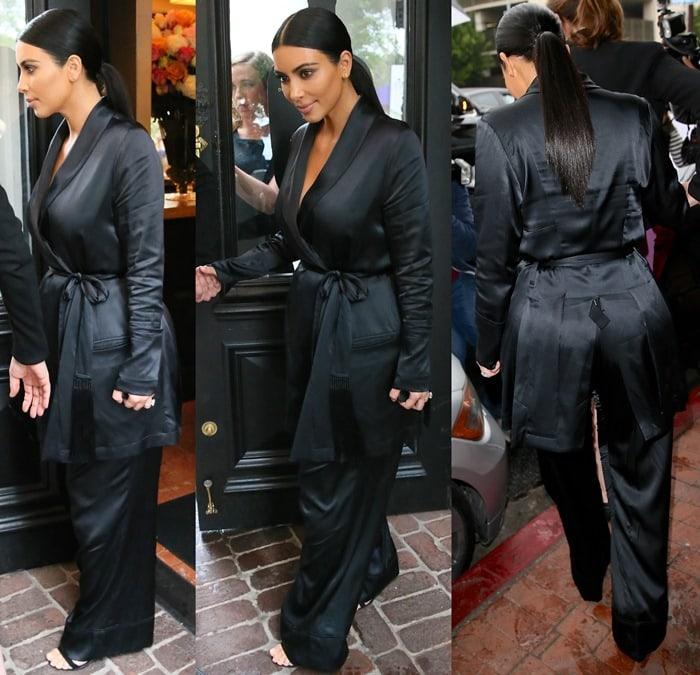 Kim Kardashian leaving A.O.C. restaurant.