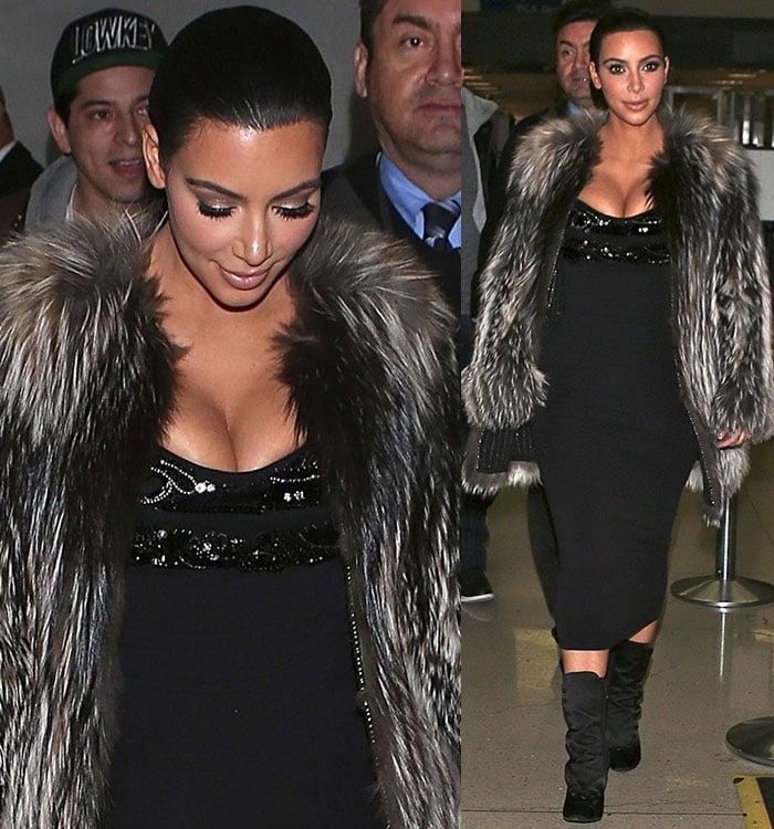 Kim Kardashian's tight Wolford dress and beaded Prada bra top