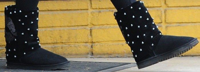 "Vanessa Hudgens wearing studded Koolaburra x Lauren Moshi ""Lips"" boots"