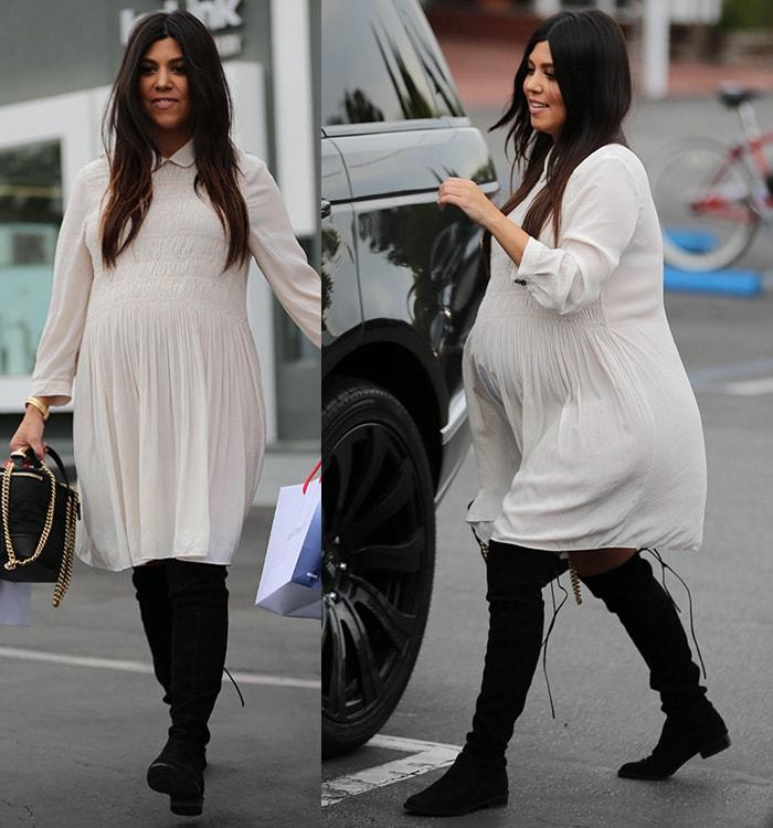 Kourtney Kardashian kept her hair down while shopping at Fred Segal