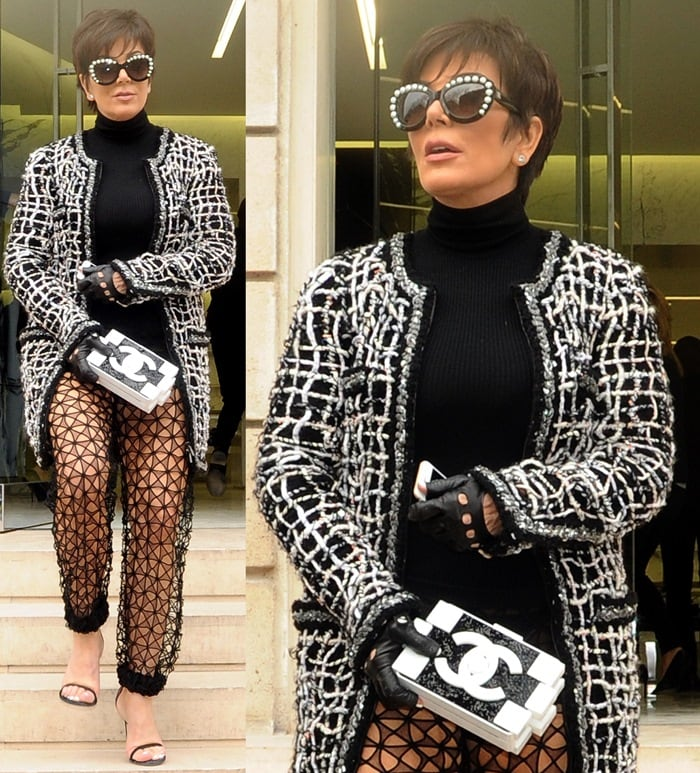 Kris Jenner's see-through mesh pants from Chanel