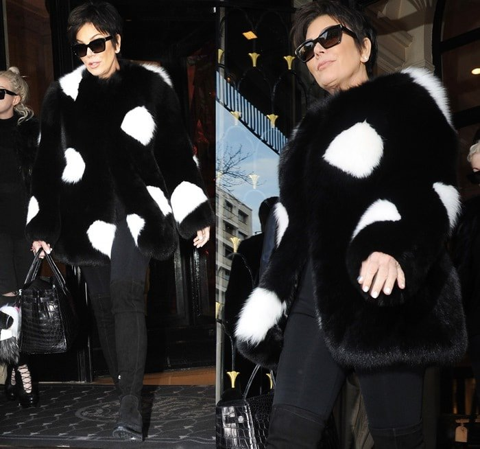 Kris Jenner and Kendall Jenner leaving the Four Seasons Hotel George V