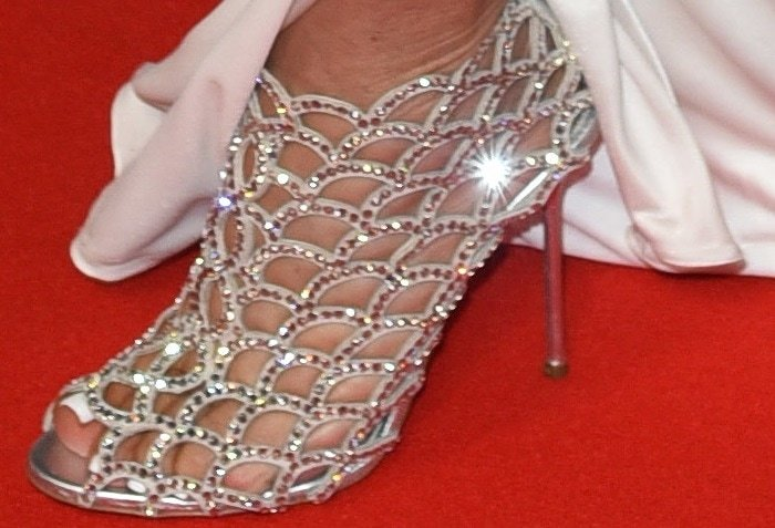 Kris Jenner showed off her feet in crystal Sergio Rossi heels