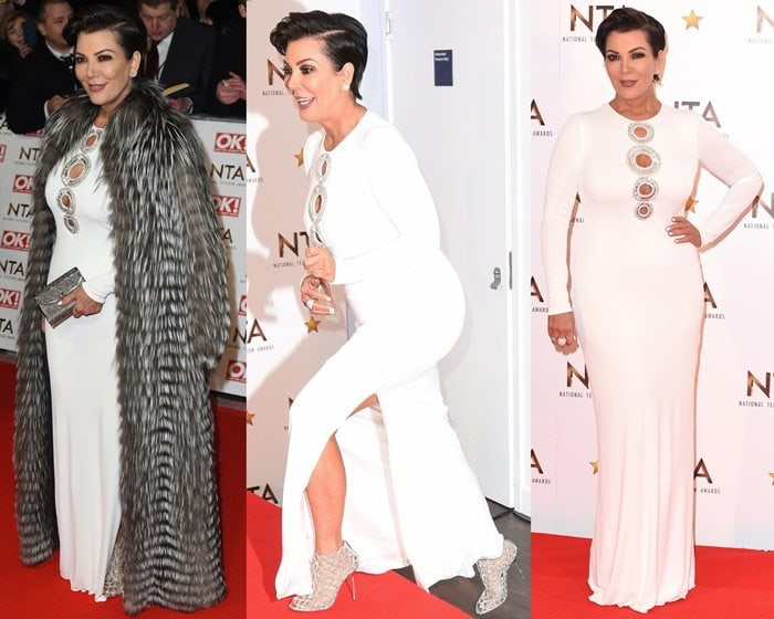 Kris Jenner's figure-hugging white cutout dress from Emilio Pucci