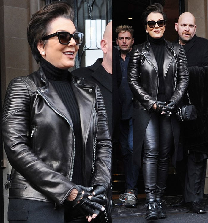 Kris Jenner in a leather jacket paired with leather pants and gloves