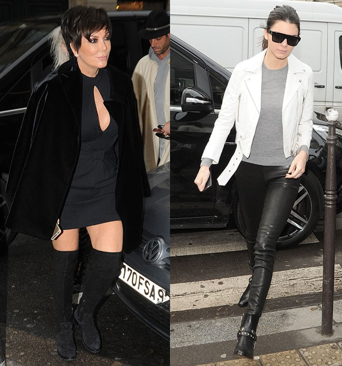 Kris and Kendall Jenner out for lunch in Paris, France, on January 26, 2015
