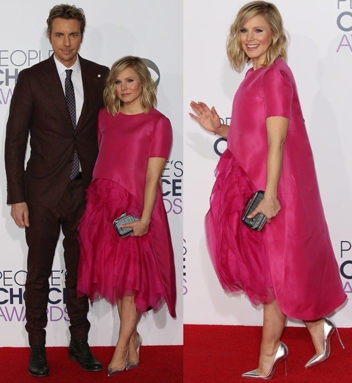 Kristen Bell's post-baby body in a bright pink dress