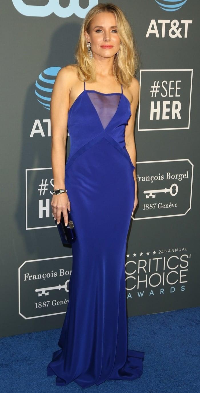 Kristen Bell wears a blue Cushnie dress at the 2019 Critics' Choice Awards
