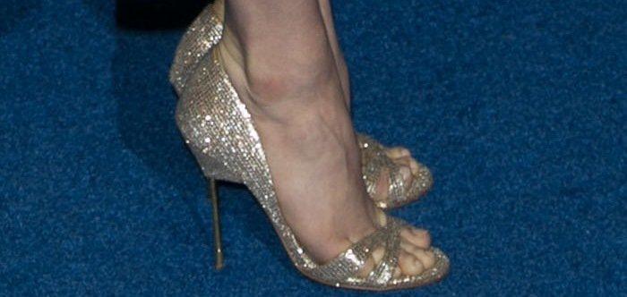 Amy Adams' hot feet in sparkling Kurt Geiger London Beverly sandals