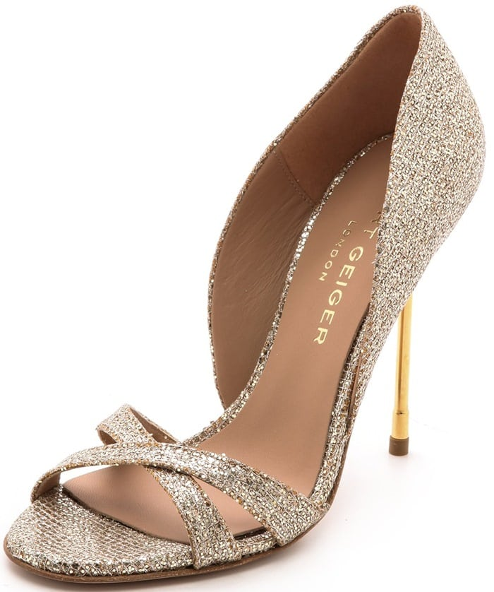 A crush of glitter over lamé adds lively sparkle to statement-making