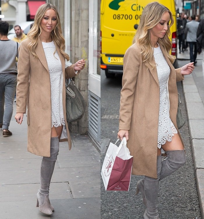 Lauren Pope wearing thigh-high boots with a white dress