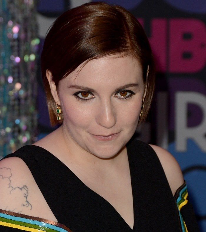 Lena Dunham at the fourth season premiere of Girls held at American Museum of Natural History in New York City on January 5, 2015