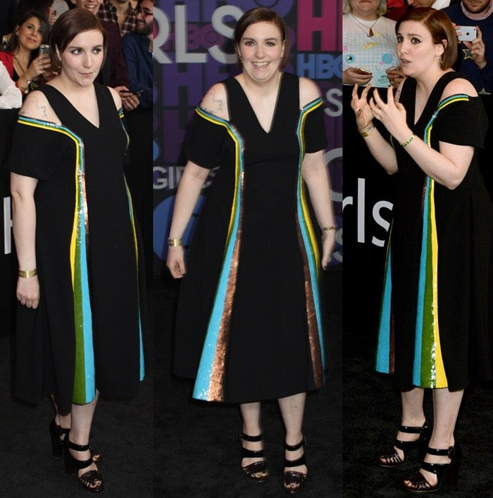 Lena Dunham flaunts her legs in a dress by Creatures of the Wind