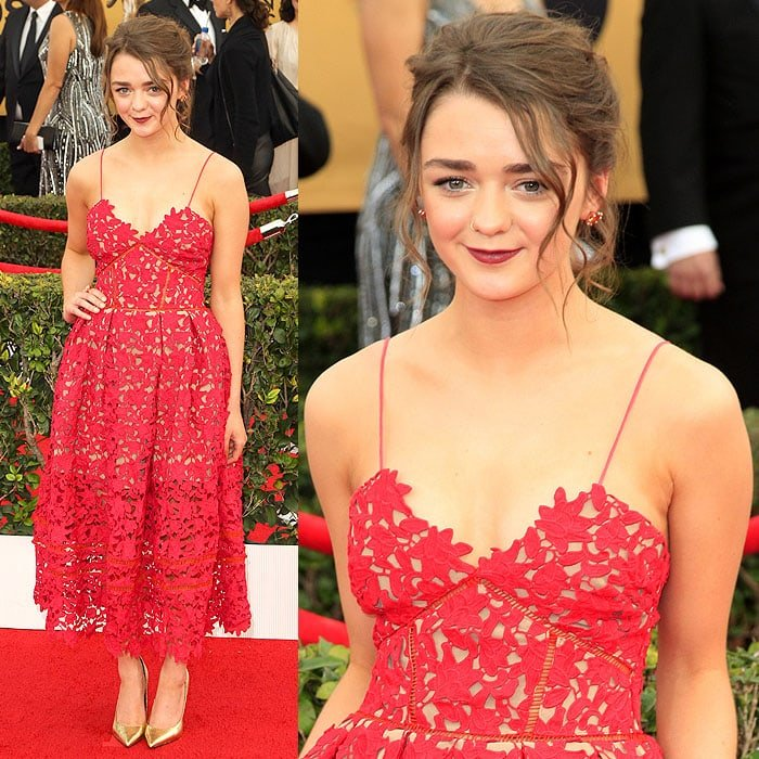 Maisie Williams at the 2015 Screen Actors Guild Awards held at the Shrine Auditorium in Los Angeles, California, on January 25, 2015
