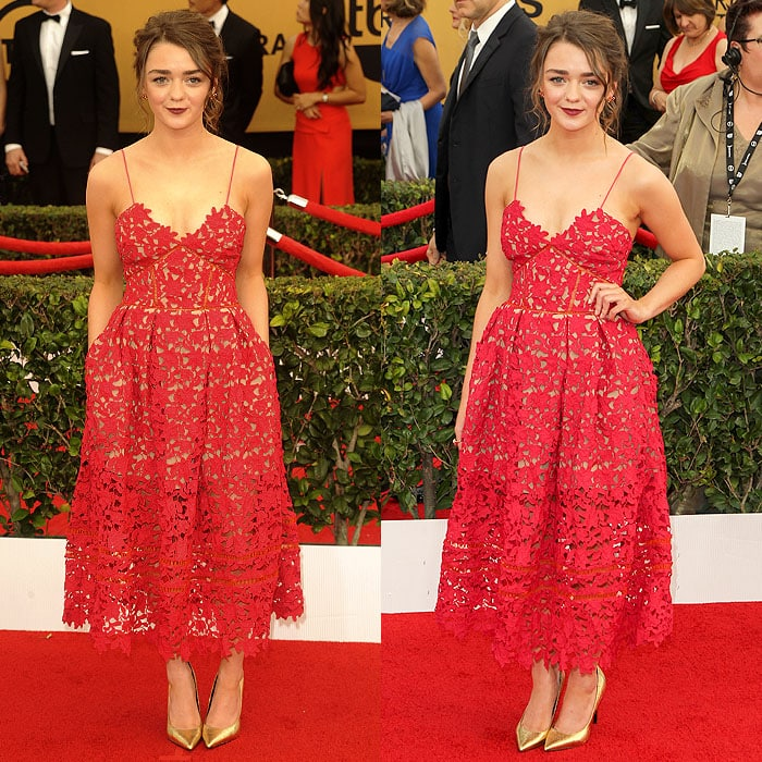 Maisie Williams loving the pockets on her Self-Portrait spaghetti-strap laser-cut dress