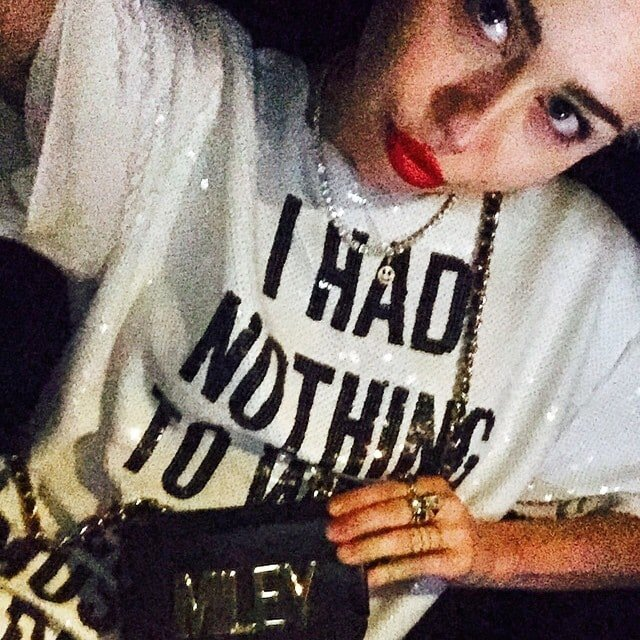 Miley Cyrus' Instagram selfie taken while on her way to The Daily Front Row Fashion Los Angeles Awards Show held at the Sunset Tower in West Hollywood, California, on January 22, 2015 -- posted on January 23, 2015