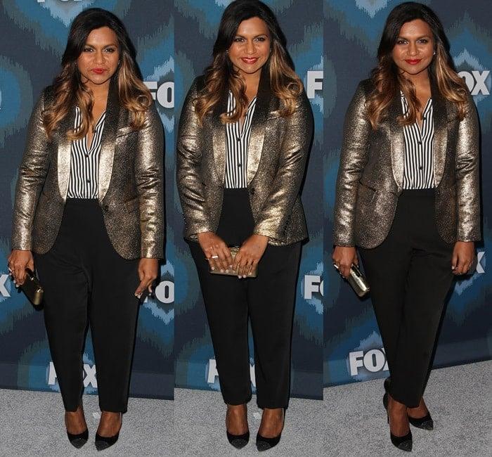 Mindy Kaling wearing Zero + Maria Cornejo 'Tabi' tapered pants with a gold metallic Smythe blazer