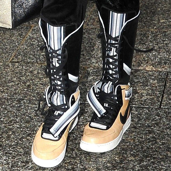 Nike x Riccardo Tisci Air Force 1 sneaker boots in beige on Naomi Campbell