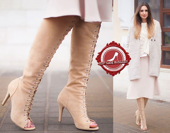 Nika rocks nude over-the-knee lace-up boots