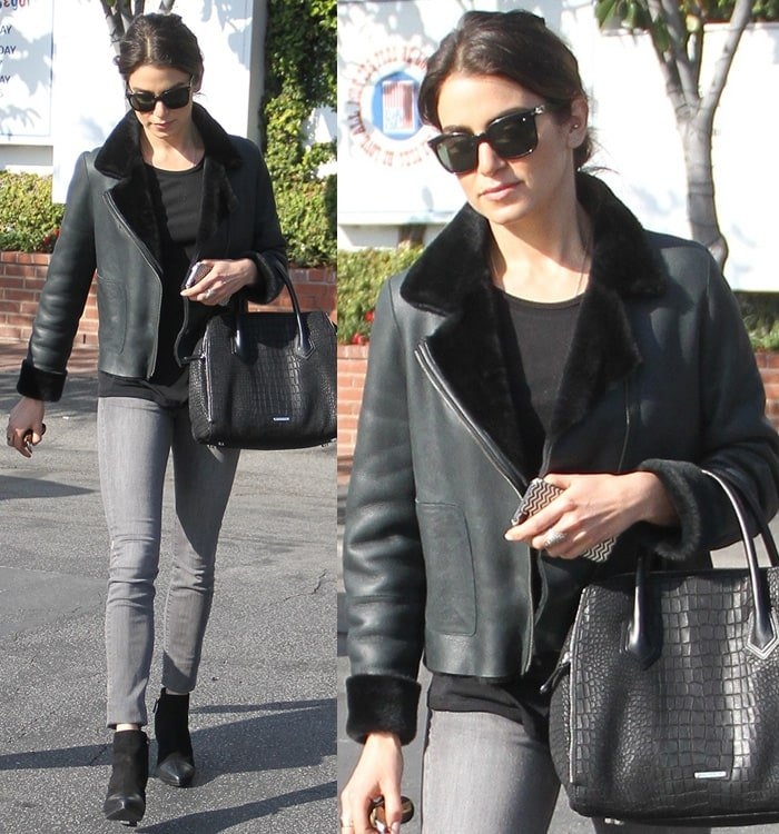 Nikki Reed's Tory Burch reversible leather-and-shearling jacket